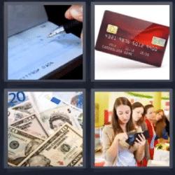 4 fotos 1 palabra chequera tarjeta