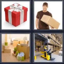 4 fotos 1 palabra cajas almacen