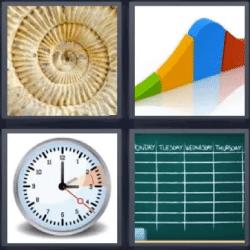 4 fotos 1 palabra cronometro pizarra