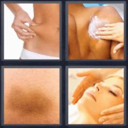 4 fotos 1 palabra crema en la espalda