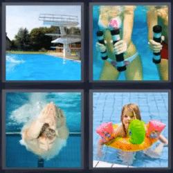 4 fotos 1 palabra hombre nadando mujeres haciendo ejercicio
