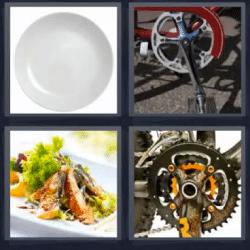 4 fotos 1 palabra cadena bicicleta