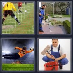 4 fotos 1 palabra arco de futbol hombre limpiando