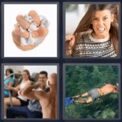 4 fotos 1 palabra mujer tirandose el pelo hombre nadando