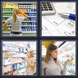 4 fotos 1 palabra mujer en supermercado