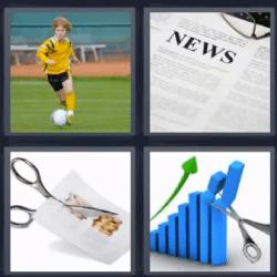 4 fotos 1 palabra futbol tijeras