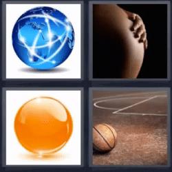 4 fotos 1 palabra embarazada pelota de basquet