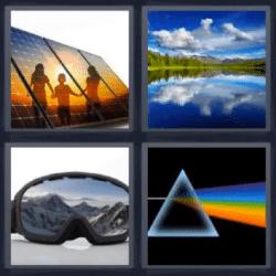 4 fotos 1 palabra lentes de nieve triángulo