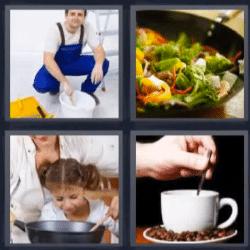 4 fotos 1 palabra pintor taza de cafe