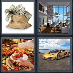 4 fotos 1 palabra saco de dinero