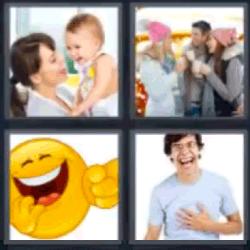 4 fotos 1 palabra carita amarilla