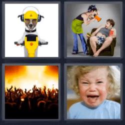 4 fotos 1 palabra perro en moto
