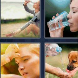4 fotos 1 palabra bebiendo agua