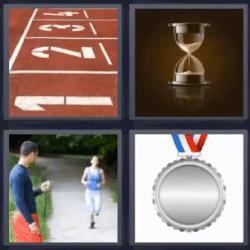 4 fotos 1 palabra reloj de arena mujer corriendo