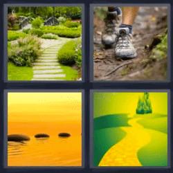 4 fotos 1 palabra jardin piedras sobre el agua castillo