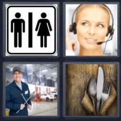 4 fotos 1 palabra mujer con audifonos