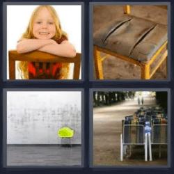 4 fotos 1 palabra ni a en una silla silla rota muro