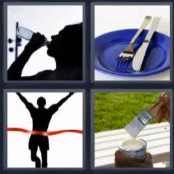 4 fotos 1 palabra tomando agua
