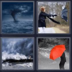 4 fotos 1 palabra tornado paraguas