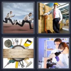 4 fotos 1 palabra hombres corriendo herramientas