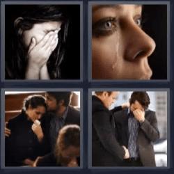 4 fotos 1 palabra llorando