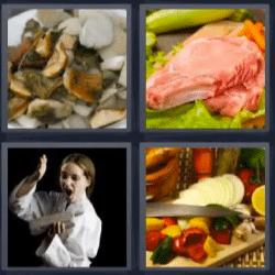 4 fotos 1 palabra karateka comida