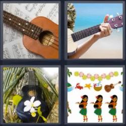 4 fotos 1 palabra guitarra hawaiana