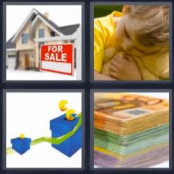 4 fotos 1 palabra casa en venta billetes