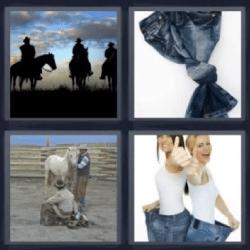 4 fotos 1 palabra jeans amarrados