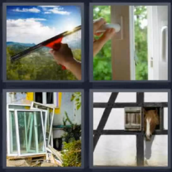 4 fotos 1 palabra limpiando un vidrio