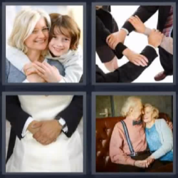 4 fotos 1 palabra abrazo manos unidas