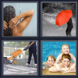 4 fotos 1 palabra paraguas rojo