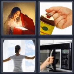 4 fotos 1 palabra microondas, niña abriendo caja roja, lata