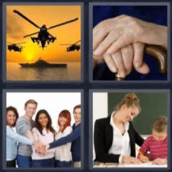 4 fotos 1 palabra helicópteros, manos, gente con manos unidas, profesora