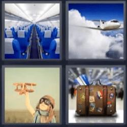 4 fotos 1 palabra maleta, avión, niño jugando