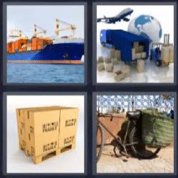 4 fotos 1 palabra barco, cajas, bicicleta, avión