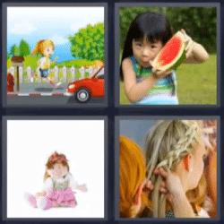 4 fotos 1 palabra niña con sandia, trenza, caricaturas