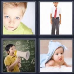 4 fotos 1 palabra niño con corbata roja, bebe, niño con altavoz