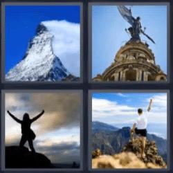 4 fotos 1 palabra montaña, mujer levantando los brazos, edificio