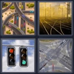 4 fotos 1 palabra semaforo, carreteras, vías del tren