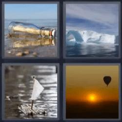 4 fotos 1 palabra botella con mensaje