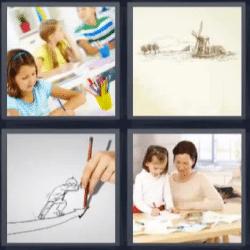 4 fotos 1 palabra nina pintando
