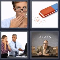 4 fotos 1 palabra goma de borrar, hombre con mano en la boca, profesor
