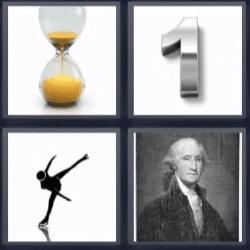 4 fotos 1 palabra reloj de arena, numero 1, patinadora