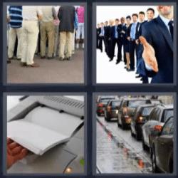 4 fotos 1 palabra grupo de gente, fila de carros, impresora, coches