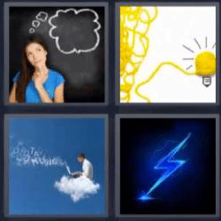 4 fotos 1 palabra mujer pensando, bombilla de lana amarilla, rayo azul, hombre en una nube