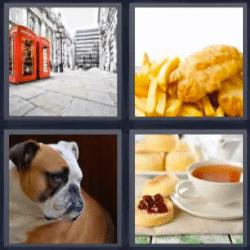 4 fotos 1 palabra perro, pollo y papas, te con tostaras, cabinas de teléfono rojas