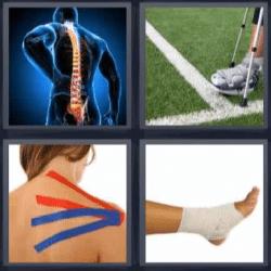 4 fotos 1 palabra columna vertebral, pie vendado