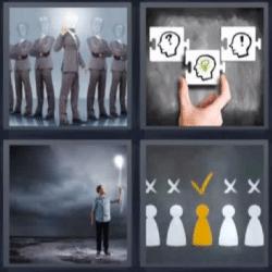 4 fotos 1 palabra hombres con cabeza de cristal, puzzle