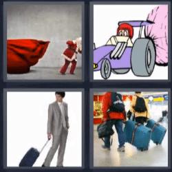 4 fotos 1 palabra papa noel, hombre con maleta
